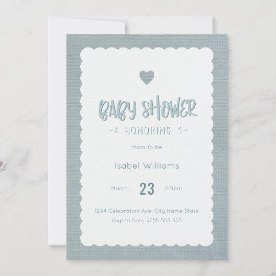 Teal Burlap Baby Shower Invitation Blank Reverse