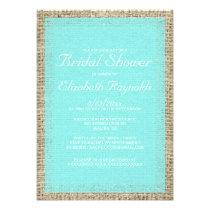 Teal Burlap Bridal Shower Invitations Custom Announcement