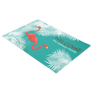 Beach Themed Teal Burlap with Pink Flamingos Doormat