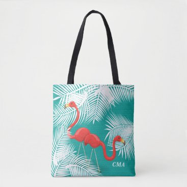 Beach Themed Teal Burlap with Pink Flamingos Tote Bag