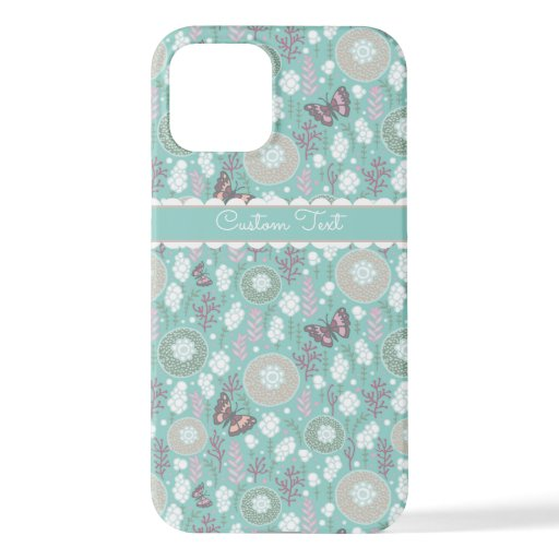 Teal Butterflies and Bubbles iPhone 12 Case