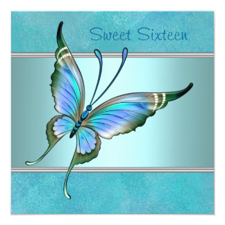 Teal Butterfly Blue Sweet Sixteen Party Custom Announcement
