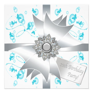 Teal Butterfly Bubbles 10th Birthday Party Invitat Personalized Invitation