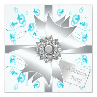 """Teal Butterfly Bubbles 10th Birthday Party Invitat 5.25"""" Square Invitation Card"""