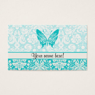 Teal Butterfly; Damask Pattern Business Card