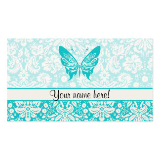 Teal Butterfly Damask Pattern Business Card Template