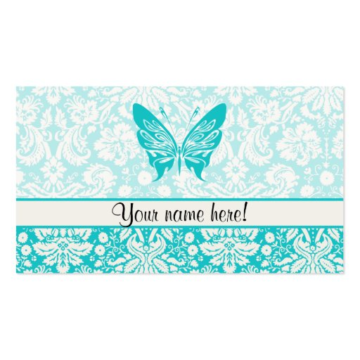 Teal Butterfly; Damask Pattern Business Card Template