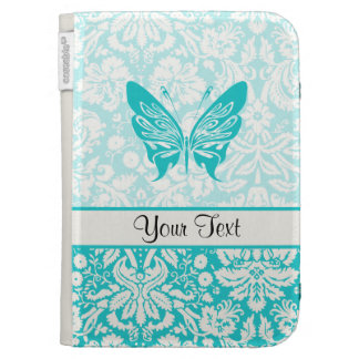 Teal Butterfly; Damask Pattern Kindle Cases
