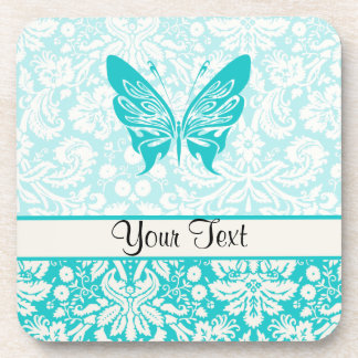Teal Butterfly; Damask Pattern Drink Coasters