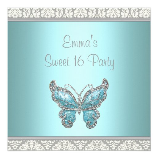 Teal Butterfly Damask Sweet 16 Party Personalized Invitation