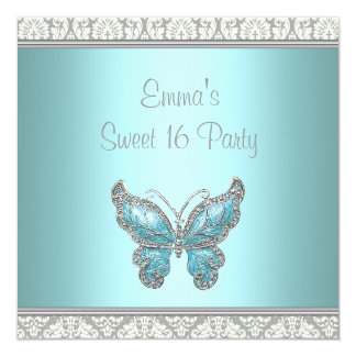 Teal Butterfly Damask Sweet 16 Party 5.25x5.25 Square Paper Invitation Card