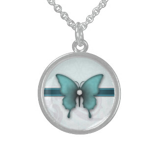 Teal Butterfly Dreams Sterling Silver Necklace