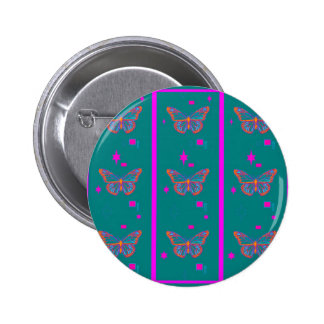 Teal Butterfly Fuchsia Stripes by Sharles Pinback Buttons