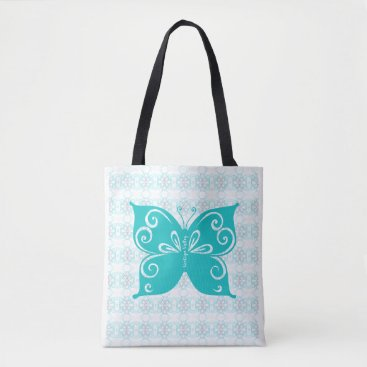 Art Themed Teal Butterfly Large Tote Bag