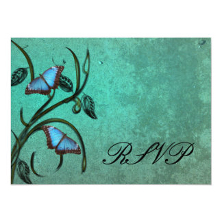 """Teal Butterfly Pair RSVP Card 5.5"""" X 7.5"""" Invitation Card"""