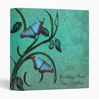 Teal Butterfly Pair Wedding Organizer Binder