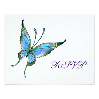 Teal Butterfly RSVP Any Color Background Card