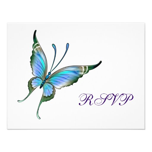 Teal Butterfly RSVP Any Color Background Personalized Announcement