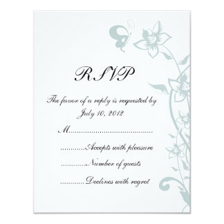 Teal Butterfly RSVP Card Custom Announcement