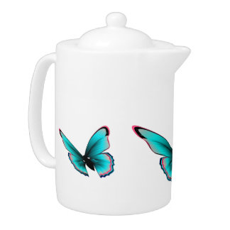 Teal Butterfly Teapot