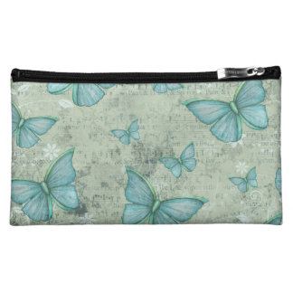 Teal Butterfly Vintage Cosmetic Bag