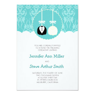 Teal Cake Pop Wedding Invitations
