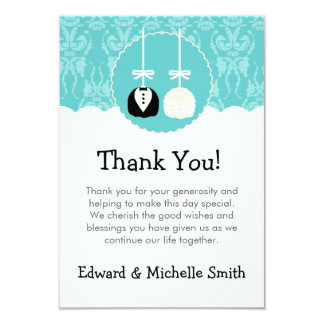 Teal Cake Pop Wedding Thank You Notes Card