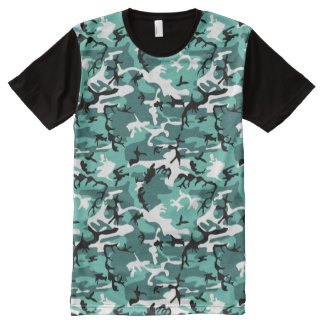 Teal Camo All-Over-Print T-Shirt