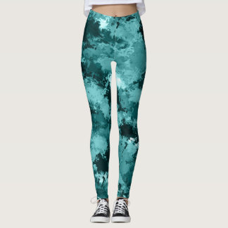 Teal Camo Camouflage Leggings