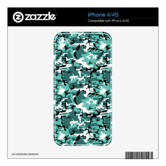 Teal Camo Skin For iPhone 4S