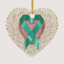 Teal Cancer Ribbon From the Heart - SRF Ceramic Ornament
