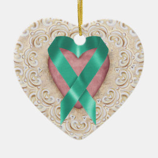 Teal Cancer Ribbon From the Heart - SRF Double-Sided Heart Ceramic Christmas Ornament
