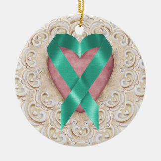 Teal Cancer Ribbon From the Heart - SRF Double-Sided Ceramic Round Christmas Ornament