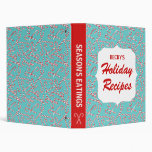 Teal Candy Cane Holiday Recipes Vinyl Binder
