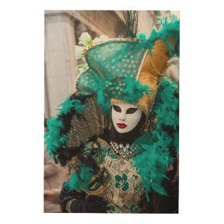 Teal Carnival Costume, Venice Wood Wall Art