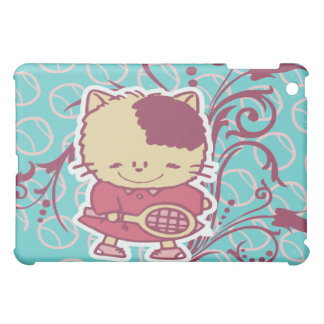 Teal Cartoon Tennis Cat  iPad Mini Cases