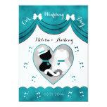 Teal Cat Bride & Groom Wedding Invitations