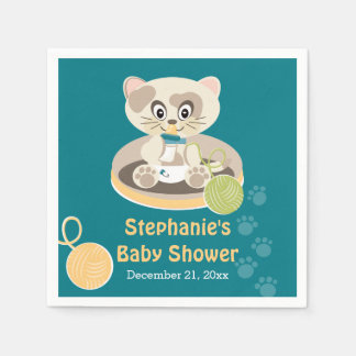 Teal Cat in Diapers Baby Shower Paper Napkin