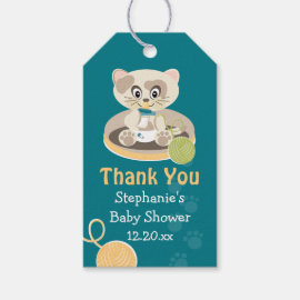 Teal Cat in Diapers Baby Shower Thank You Tag