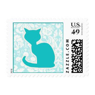 Teal Cat Postage Stamp