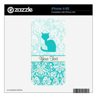 Teal Cat Skins For The iPhone 4S