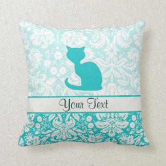 Teal Cat Throw Pillow