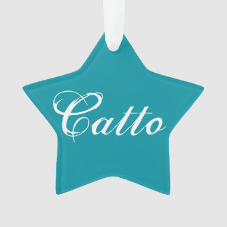 """Teal """"Catto"""" Star Ornament"""