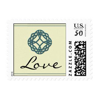 Teal Celtic Eternity Knot Love Postage Stamp