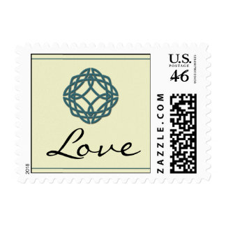 Teal Celtic Eternity Knot Love Postage Stamp