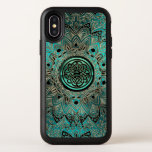 "Teal Celtic Knot Mandala Otterbox iPhone Case<br><div class=""desc"">Celtic Dara Knot Mandala Otterbox iPhone X Case. Sleek, elegant, gold and black mandala on a metallic teal blue green. In the center is a matching Celtic Dara shield knot in light teal, black and gold. Celtic knots are an ancient Celtic traditional art form characterized by having no beginning and...</div>"