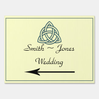 Teal Celtic Knot Wedding Direction Sign