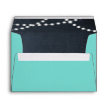 Teal Chalkboard Lights Personalized Envelope