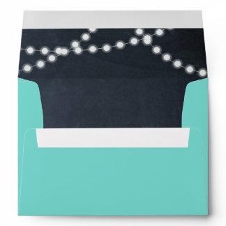 Teal Chalkboard Lights Personalized Envelope