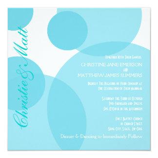 Teal Champagne Bubbles Modern Wedding Invitation